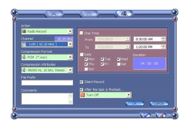 Timer Radio Recording with TV2000XP