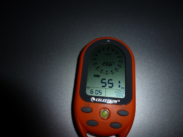 Altitude and temperature readings