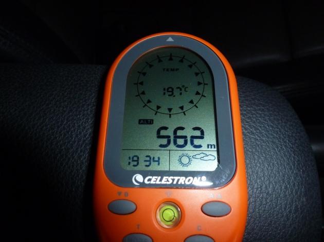 Altitude and temperature readings