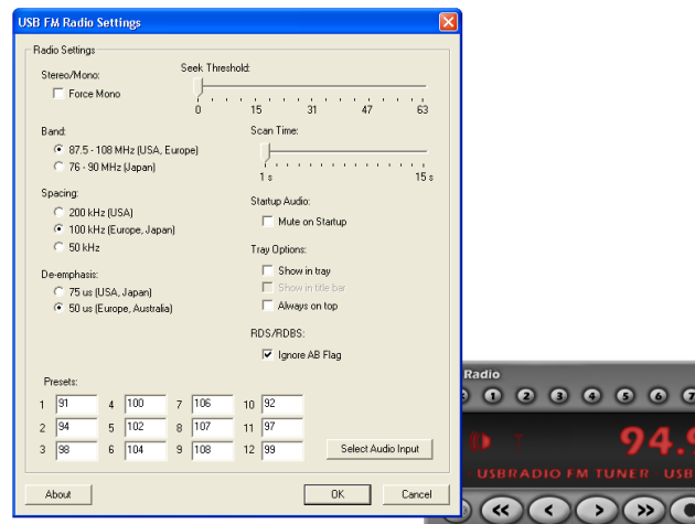 PC Ear FM Radio Player custom settings © 2014 FM DXing
